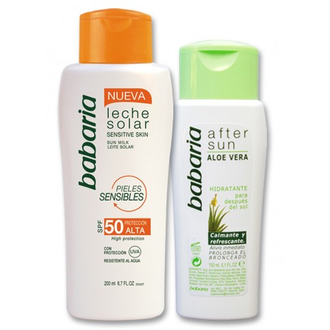 Set Leche Sol SPF50 200ml + After Sun 150ml - BABARIA. Perfumes Paris