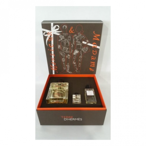 Set terre edt 100ml+mini 5ml+gel 40ml - HERMES. Perfumes Paris