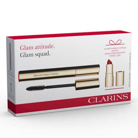 Estuche Clarins Máscara Supra Volume 8 ml + Miniatura Joli Rouge Velvet  - CLARINS. Perfumes Paris